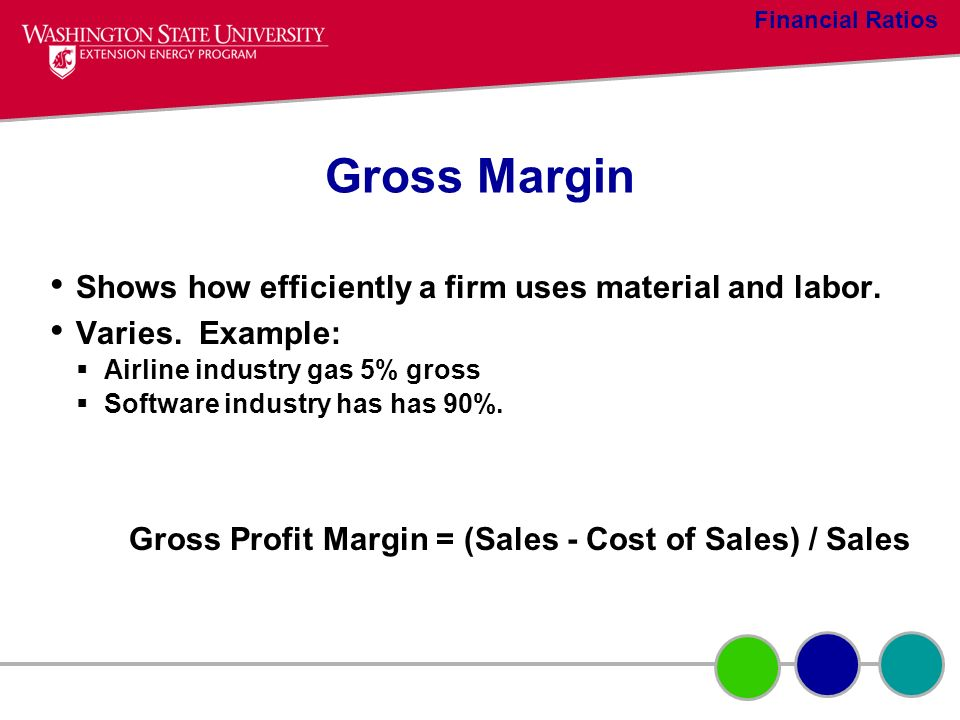 Gross Profit Margin = (Sales - Cost of Sales) / Sales