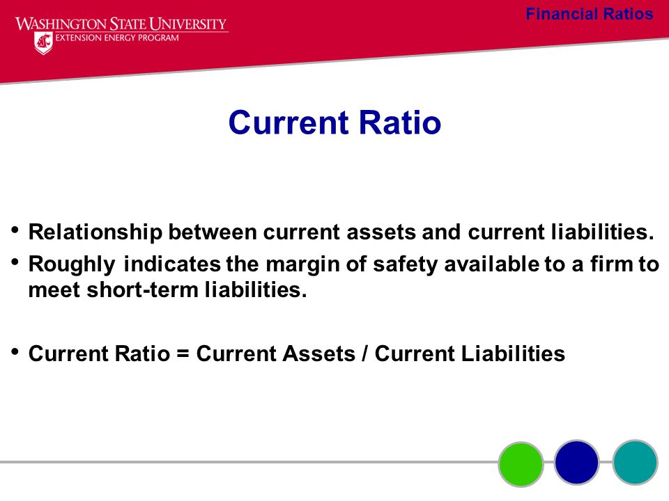 Financial Ratios Current Ratio. Relationship between current assets and current liabilities.
