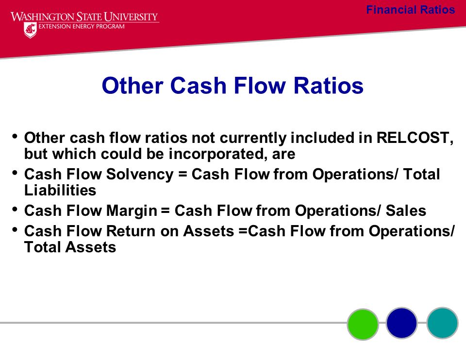 Financial Ratios Other Cash Flow Ratios. Other cash flow ratios not currently included in RELCOST, but which could be incorporated, are.