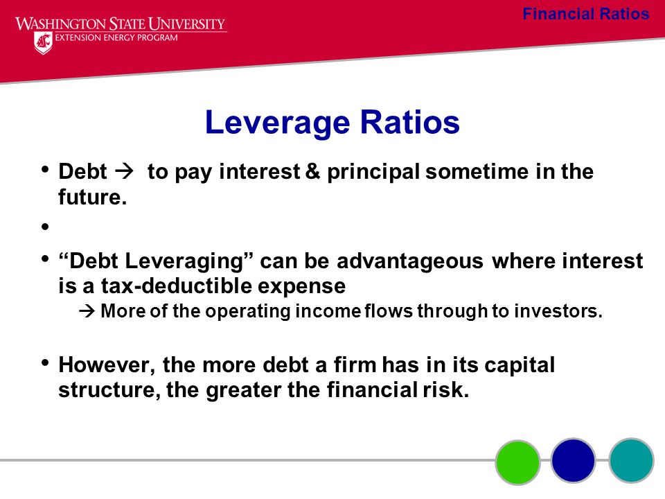 Financial Ratios Leverage Ratios. Debt  to pay interest & principal sometime in the future.