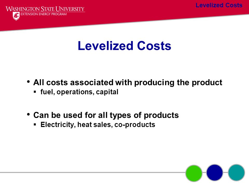 Levelized Costs All costs associated with producing the product