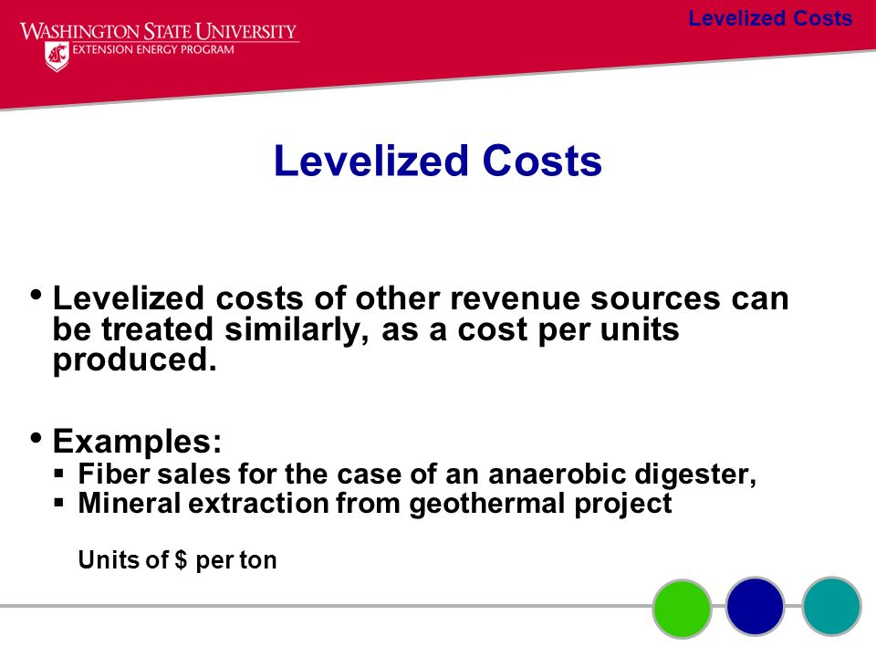 Levelized Costs Levelized Costs. Levelized costs of other revenue sources can be treated similarly, as a cost per units produced.
