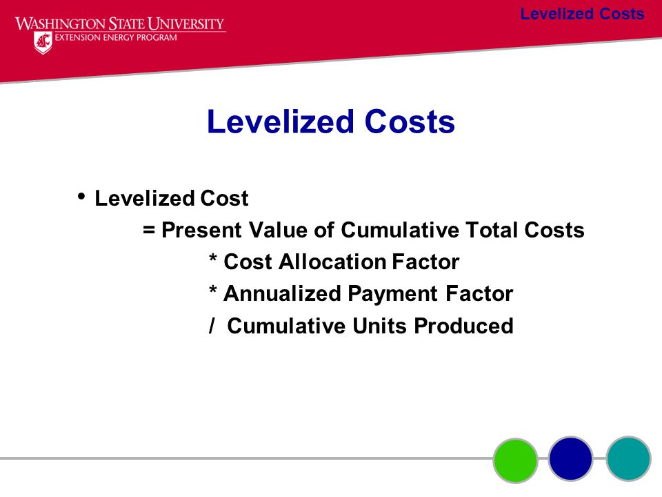 Levelized Costs Levelized Cost