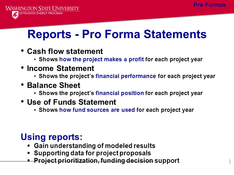 Reports - Pro Forma Statements