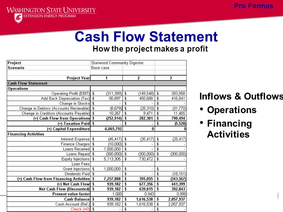Cash Flow Statement Inflows & Outflows Operations Financing Activities