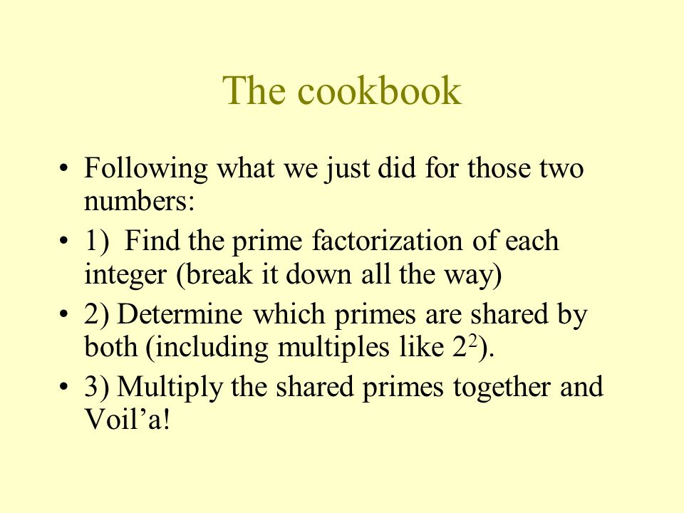 The cookbook Following what we just did for those two numbers: