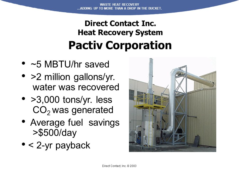 Direct Contact Inc. Heat Recovery System