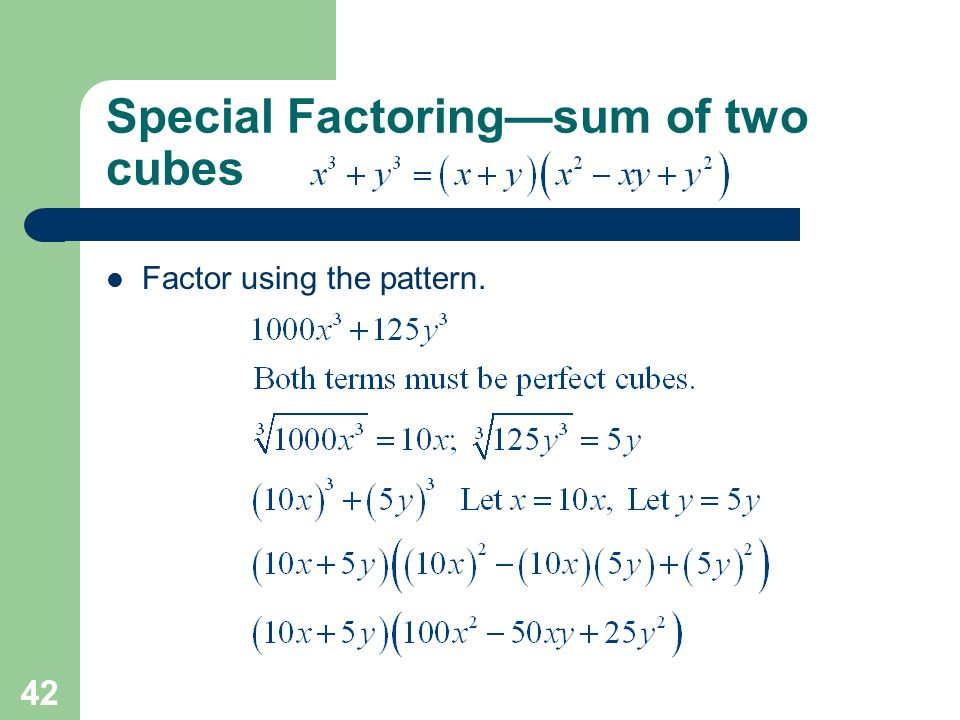 how to find the sum of two cubes