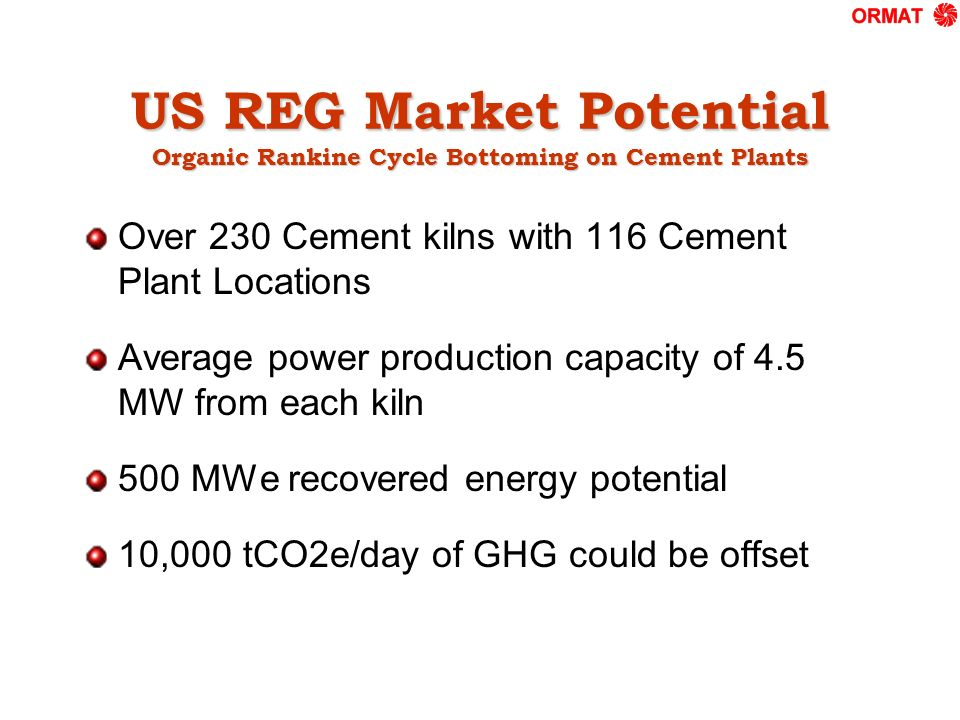 US REG Market Potential Organic Rankine Cycle Bottoming on Cement Plants