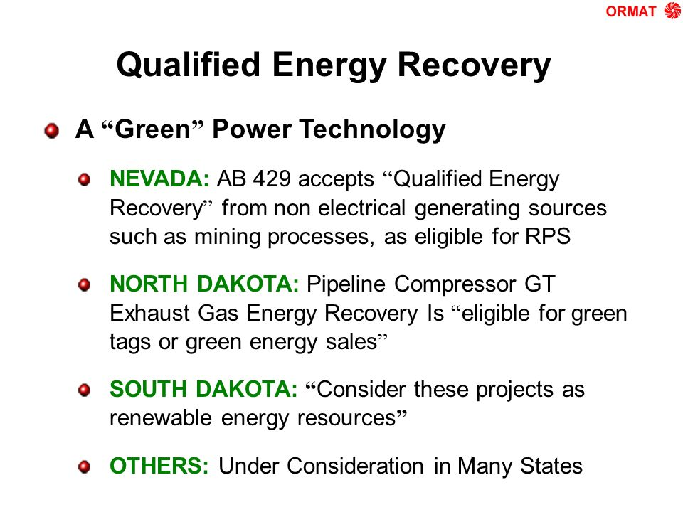 Qualified Energy Recovery