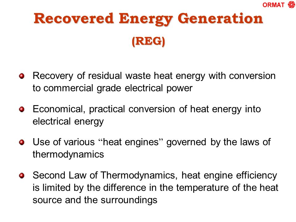 Recovered Energy Generation