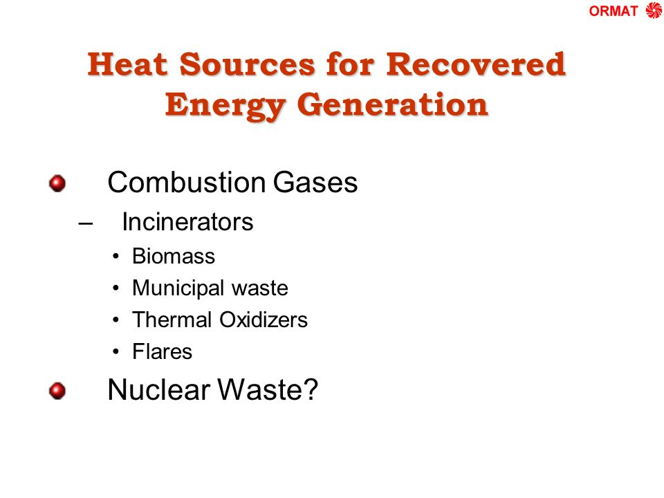Heat Sources for Recovered Energy Generation