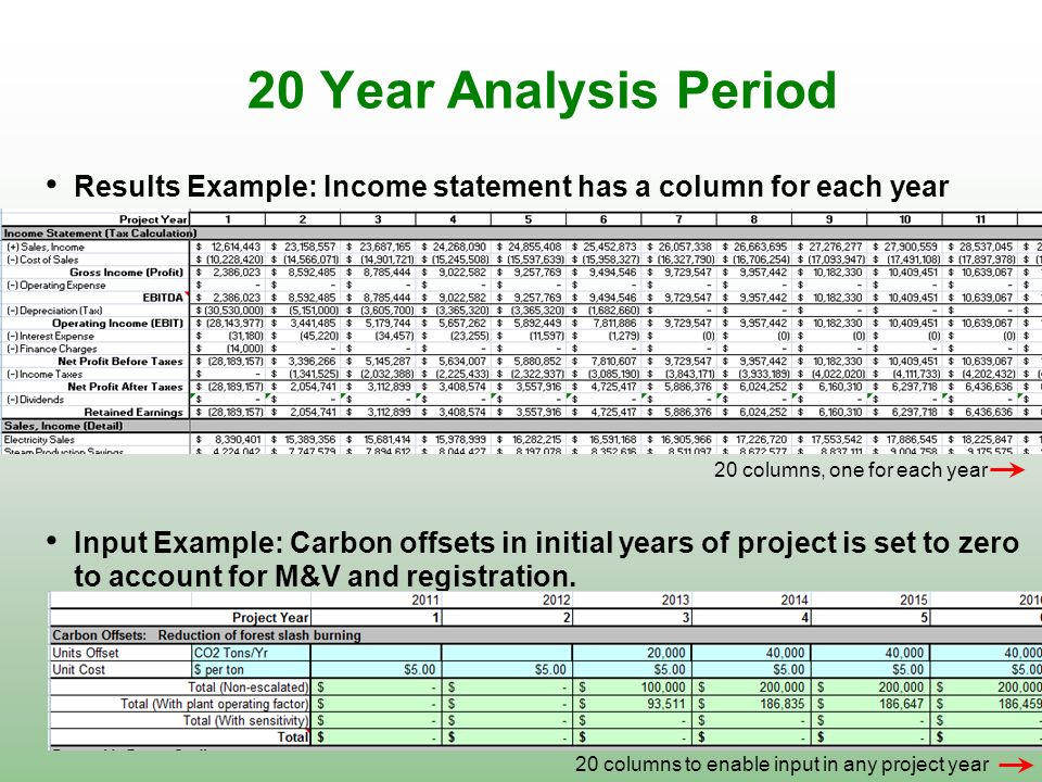 20 Year Analysis Period Results Example: Income statement has a column for each year. 20 columns, one for each year.