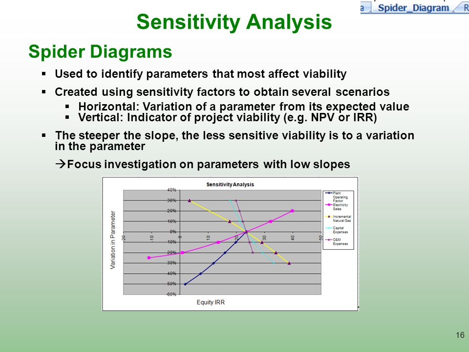 Sensitivity Analysis Spider Diagrams