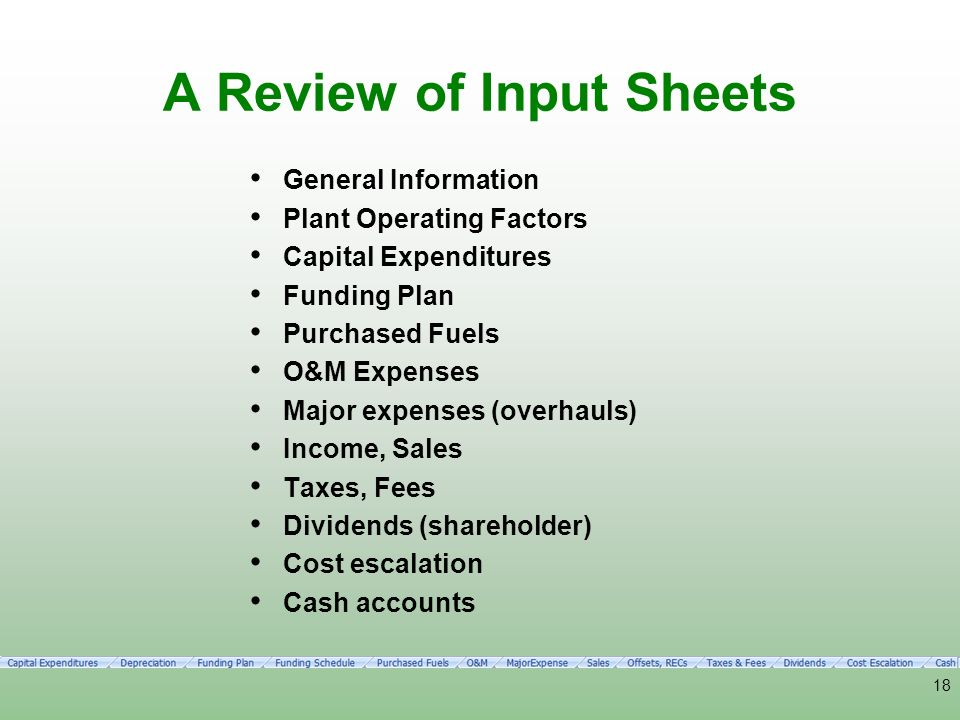 A Review of Input Sheets