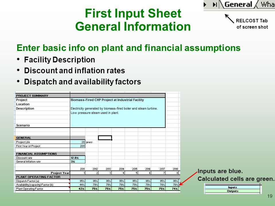 First Input Sheet General Information