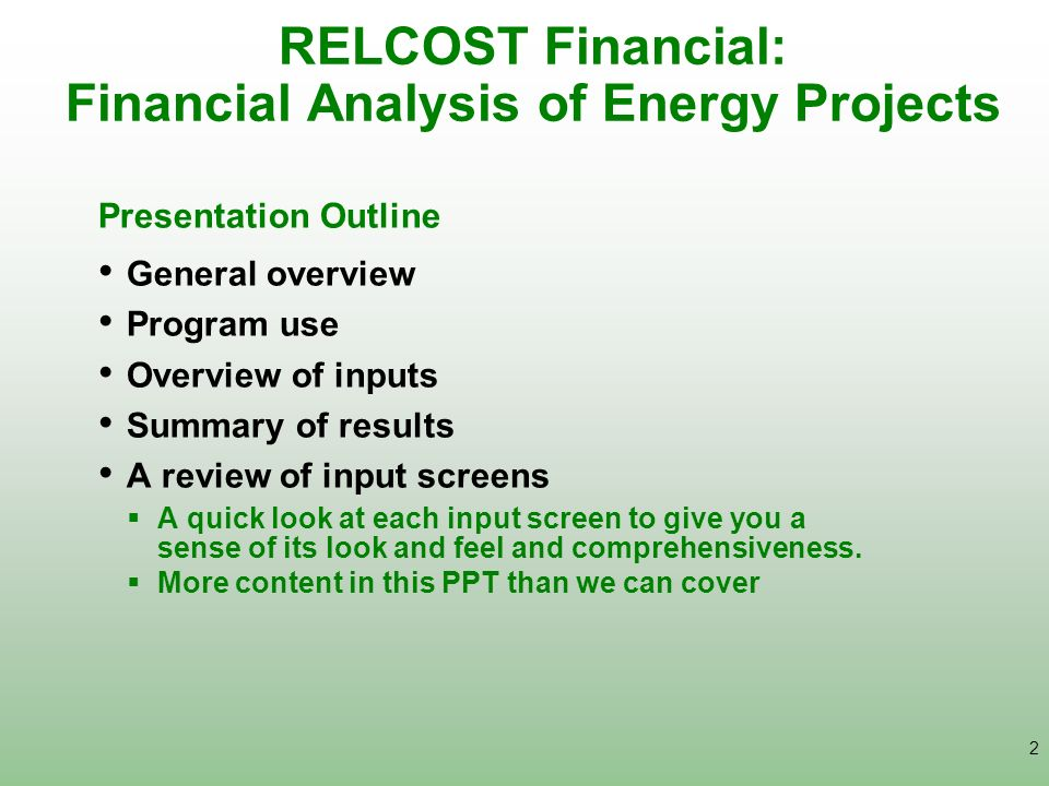 RELCOST Financial: Financial Analysis of Energy Projects