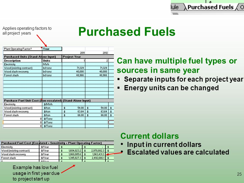 Purchased Fuels Can have multiple fuel types or sources in same year