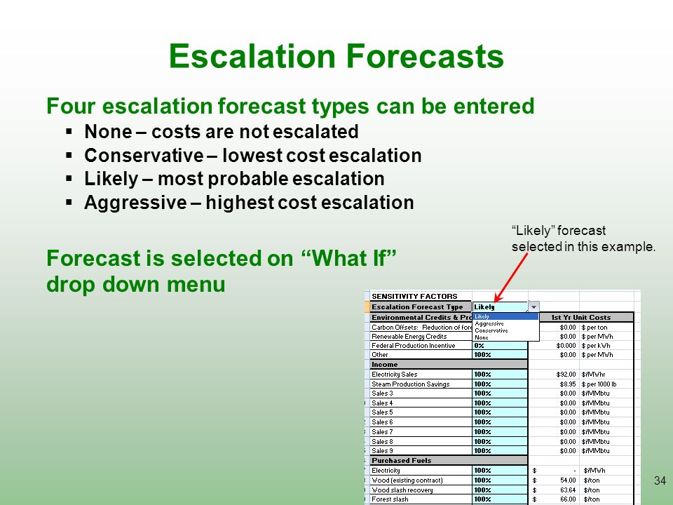Escalation Forecasts Four escalation forecast types can be entered