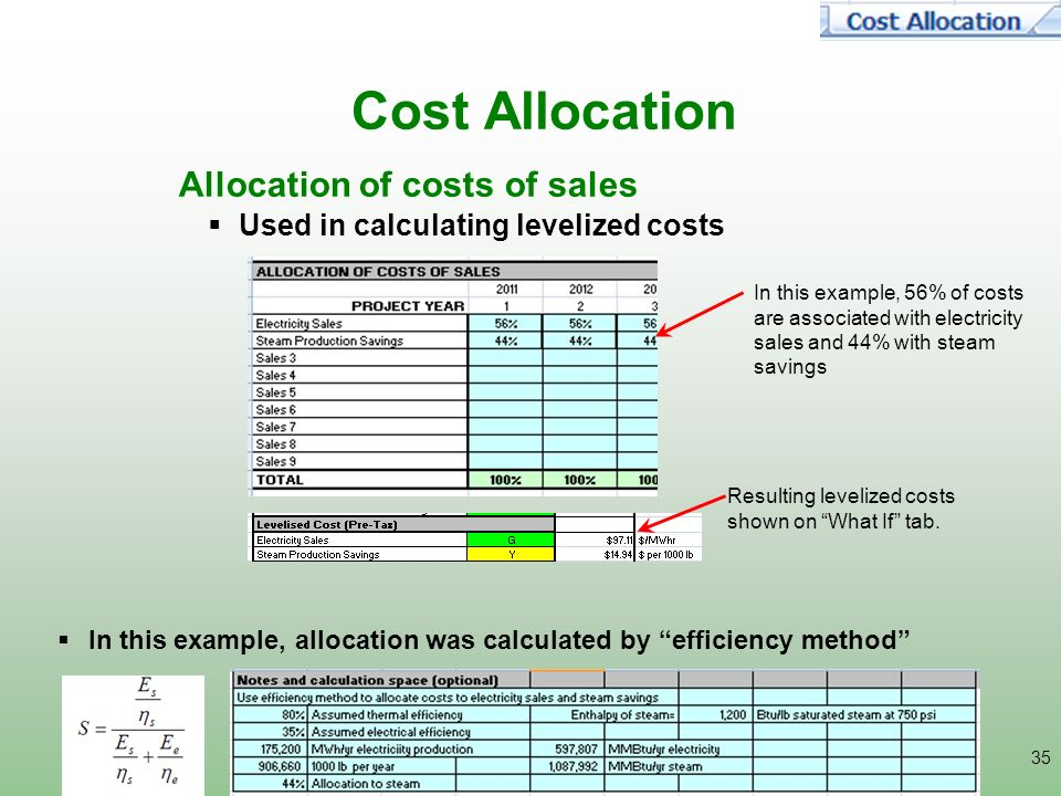 Cost Allocation Allocation of costs of sales