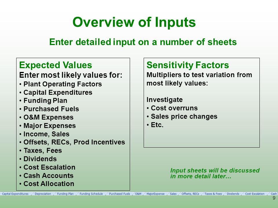 Overview of Inputs Enter detailed input on a number of sheets