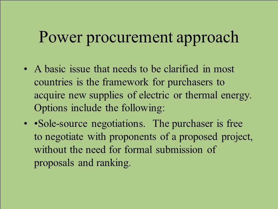 Power procurement approach