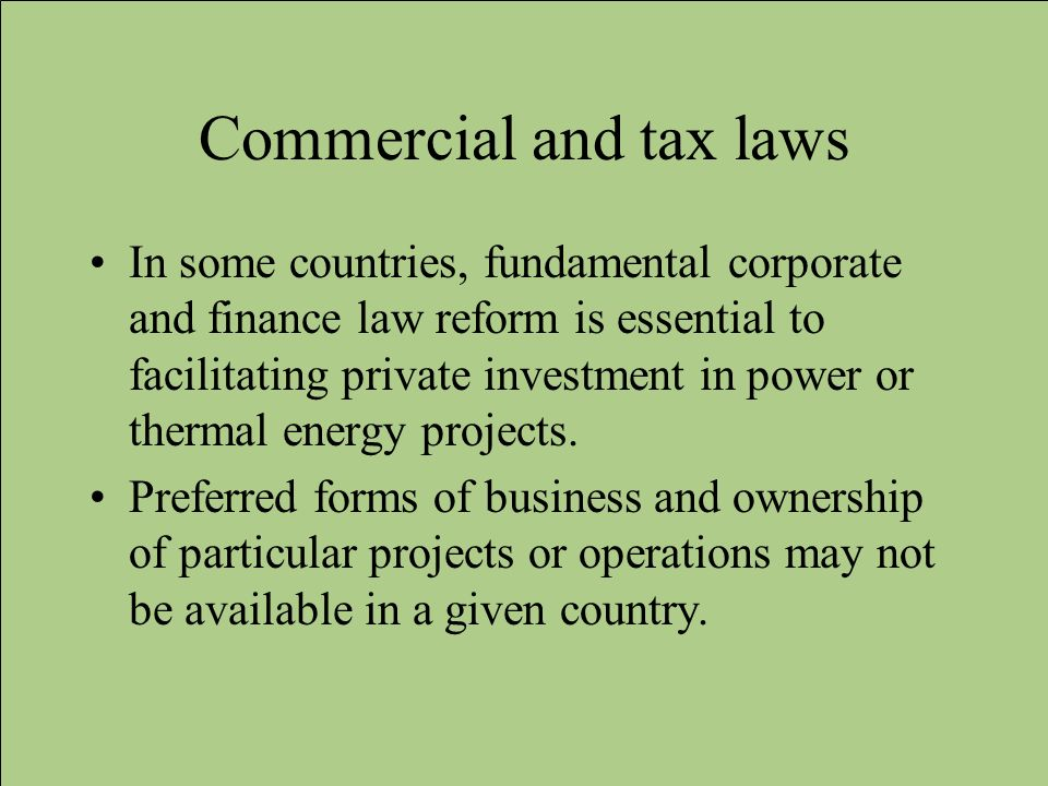 Commercial and tax laws