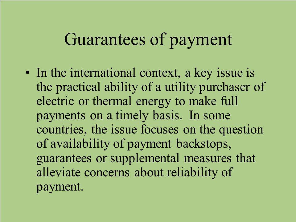 Guarantees of payment