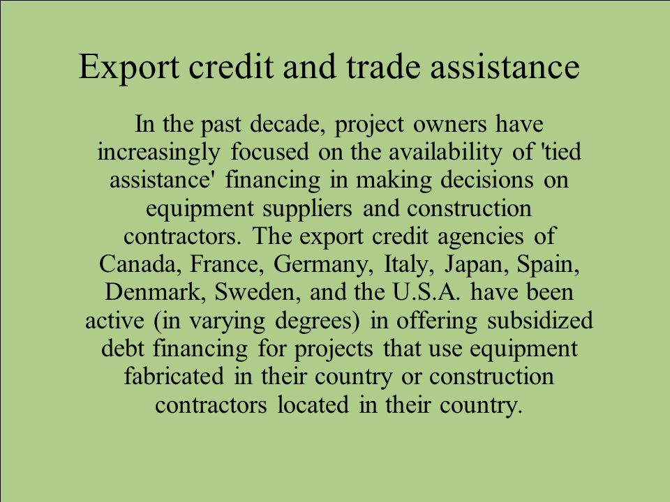 Export credit and trade assistance