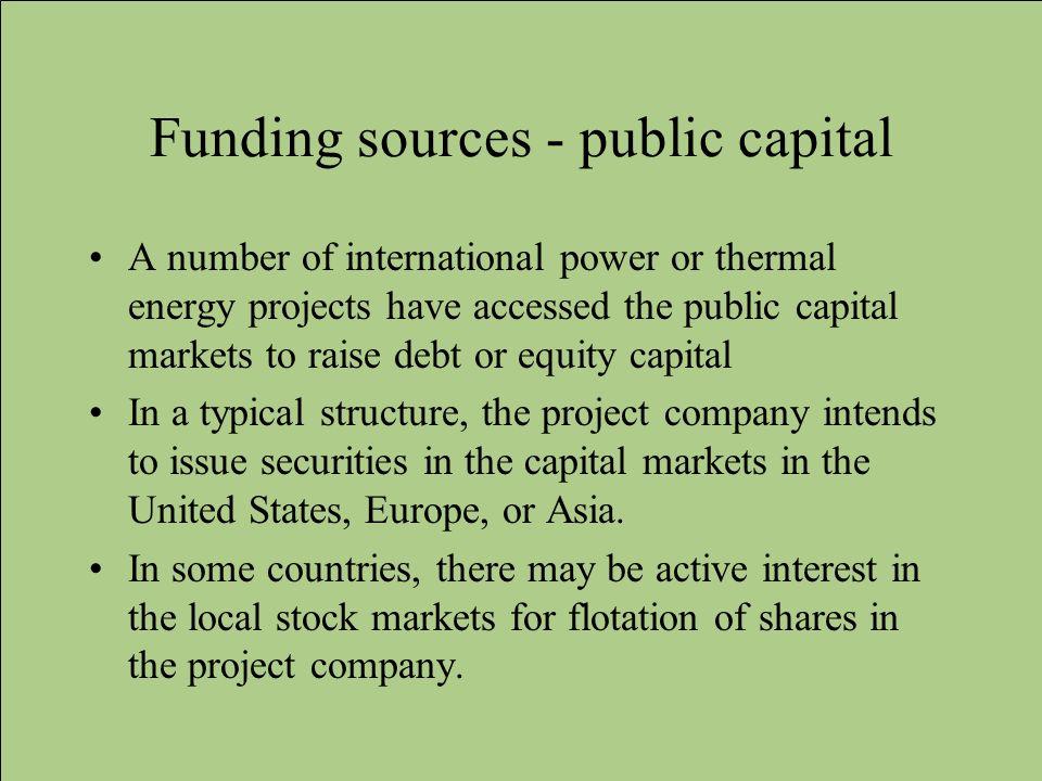 Funding sources - public capital