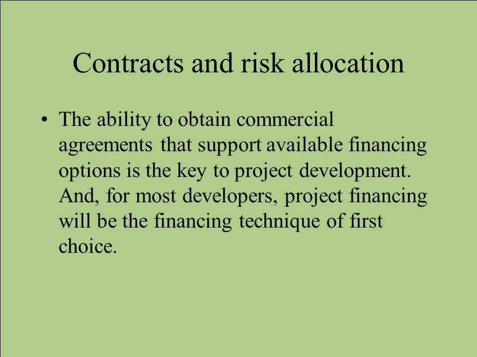 Contracts and risk allocation