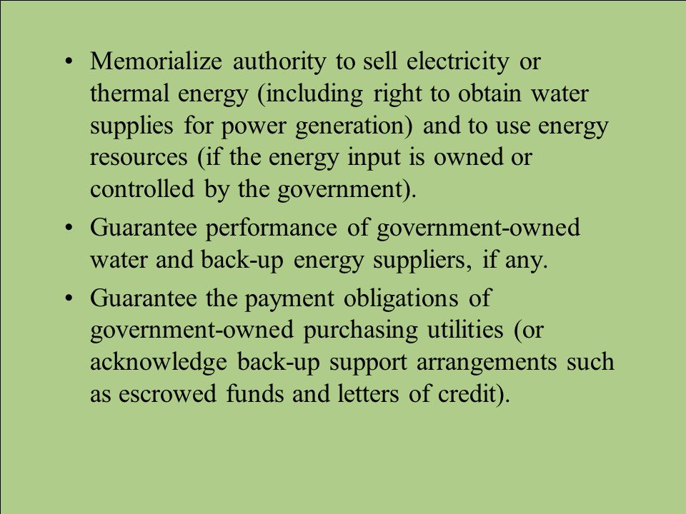 Memorialize authority to sell electricity or thermal energy (including right to obtain water supplies for power generation) and to use energy resources (if the energy input is owned or controlled by the government).