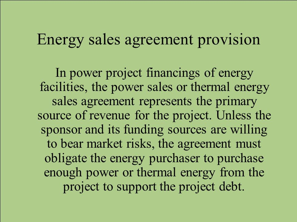 Energy sales agreement provision
