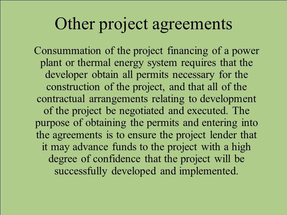 Other project agreements