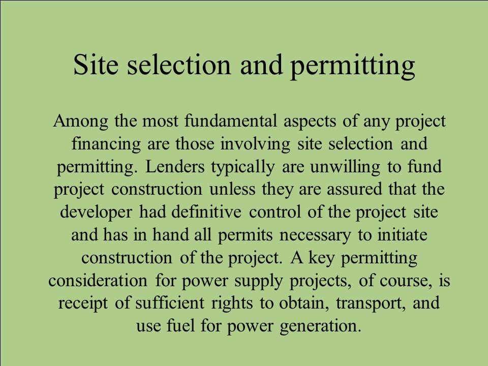 Site selection and permitting