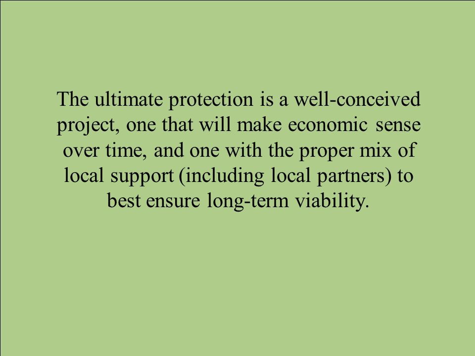 The ultimate protection is a well-conceived project, one that will make economic sense over time, and one with the proper mix of local support (including local partners) to best ensure long-term viability.