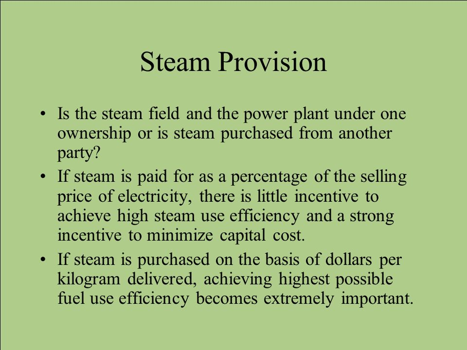 Steam Provision Is the steam field and the power plant under one ownership or is steam purchased from another party