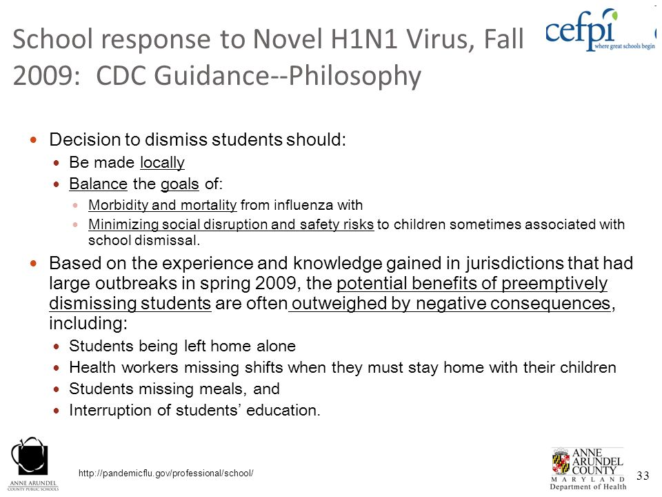 School response to Novel H1N1 Virus, Fall 2009: CDC Guidance--Philosophy
