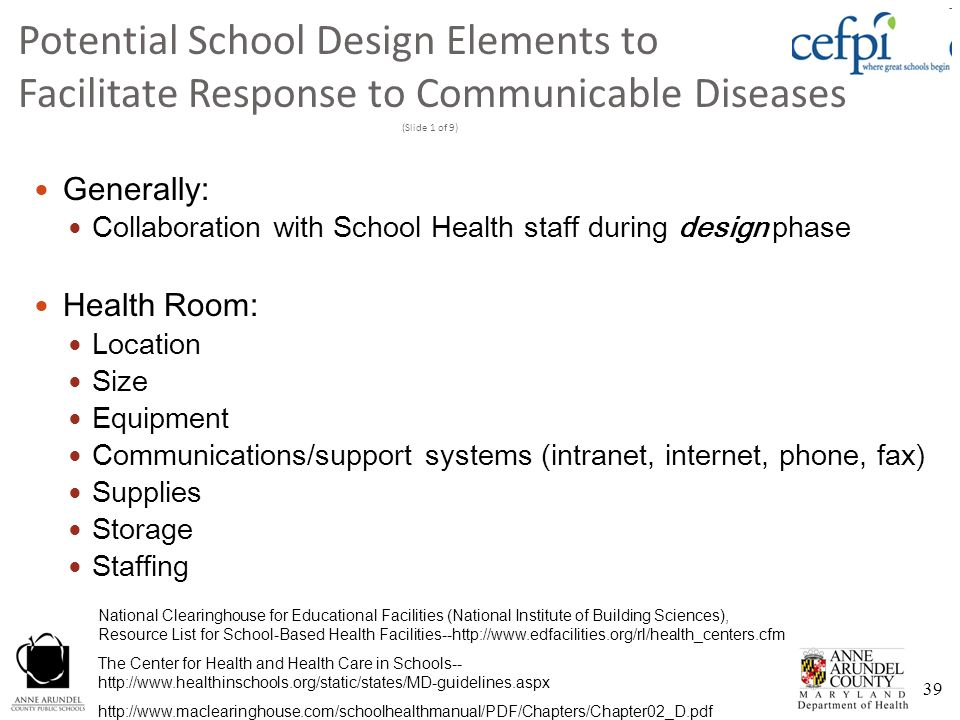 Potential School Design Elements to Facilitate Response to Communicable Diseases (Slide 1 of 9)