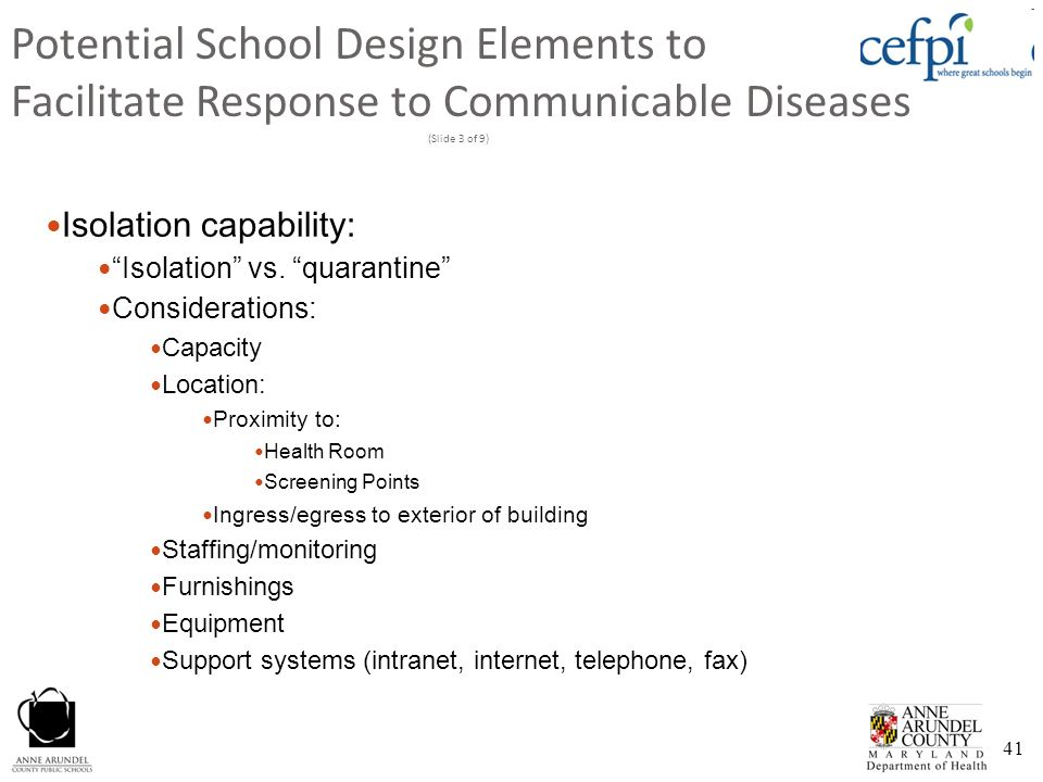 Potential School Design Elements to Facilitate Response to Communicable Diseases (Slide 3 of 9)
