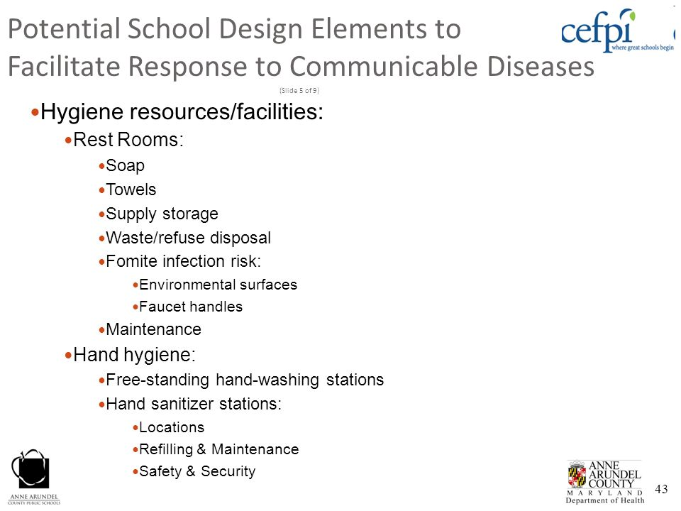 Potential School Design Elements to Facilitate Response to Communicable Diseases (Slide 5 of 9)