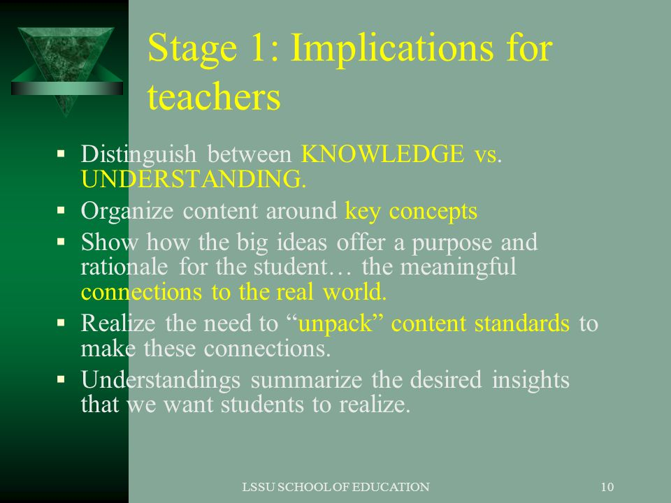 Stage 1: Implications for teachers