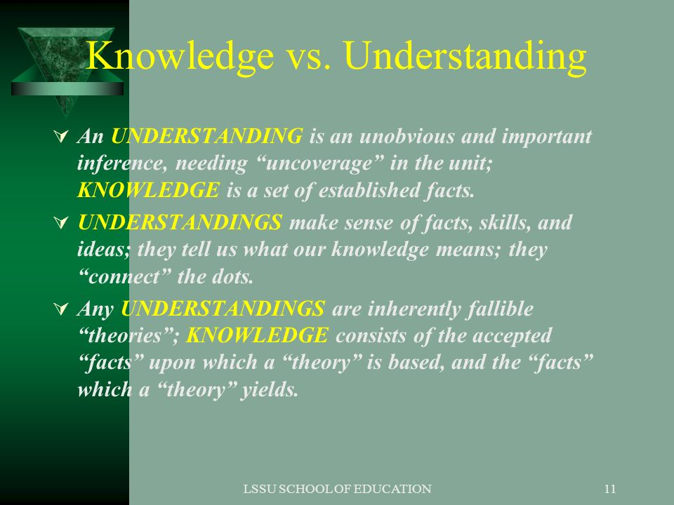 Knowledge vs. Understanding
