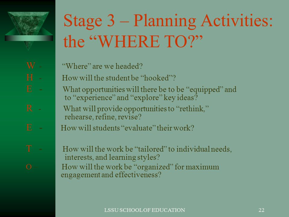 Stage 3 – Planning Activities: the WHERE TO