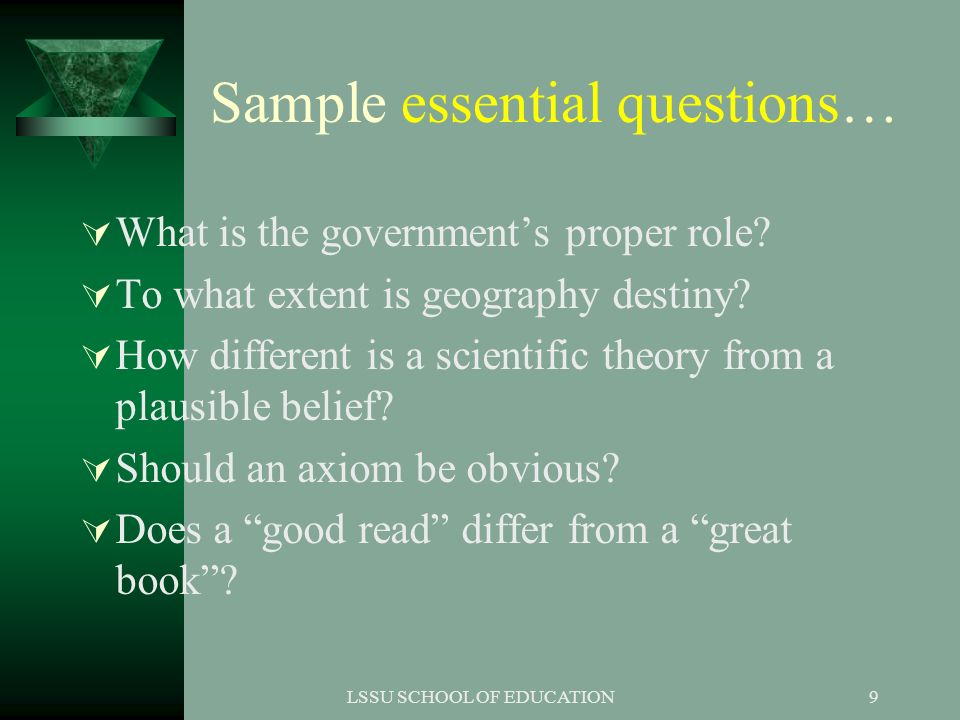 Sample essential questions…