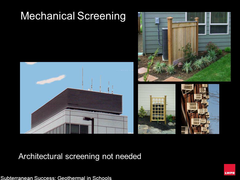 Mechanical Screening Architectural screening not needed