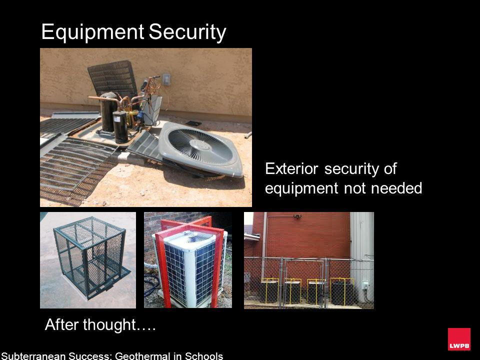Equipment Security Exterior security of equipment not needed