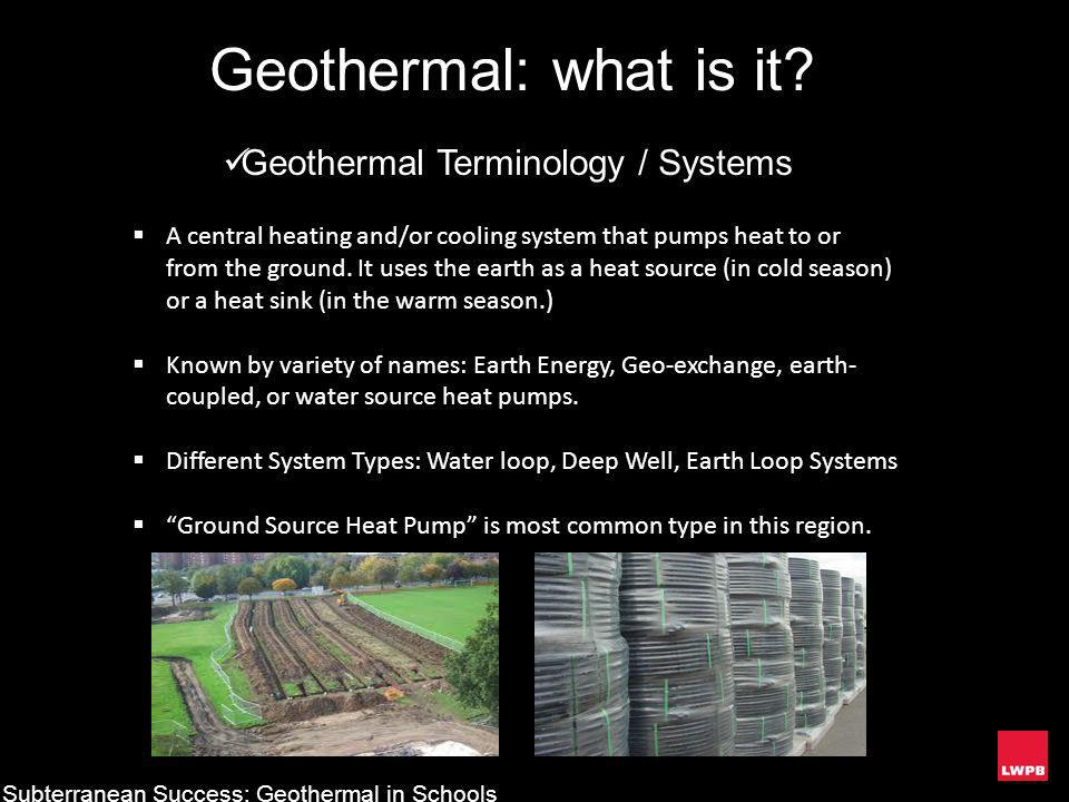 Geothermal: what is it Geothermal Terminology / Systems