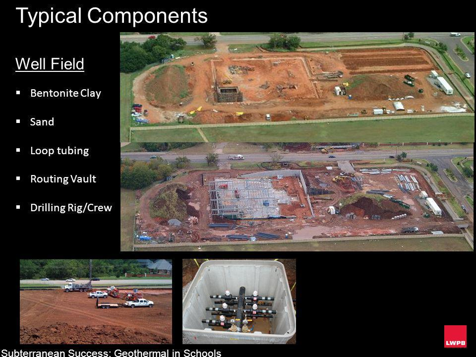 Typical Components Well Field Bentonite Clay Sand Loop tubing