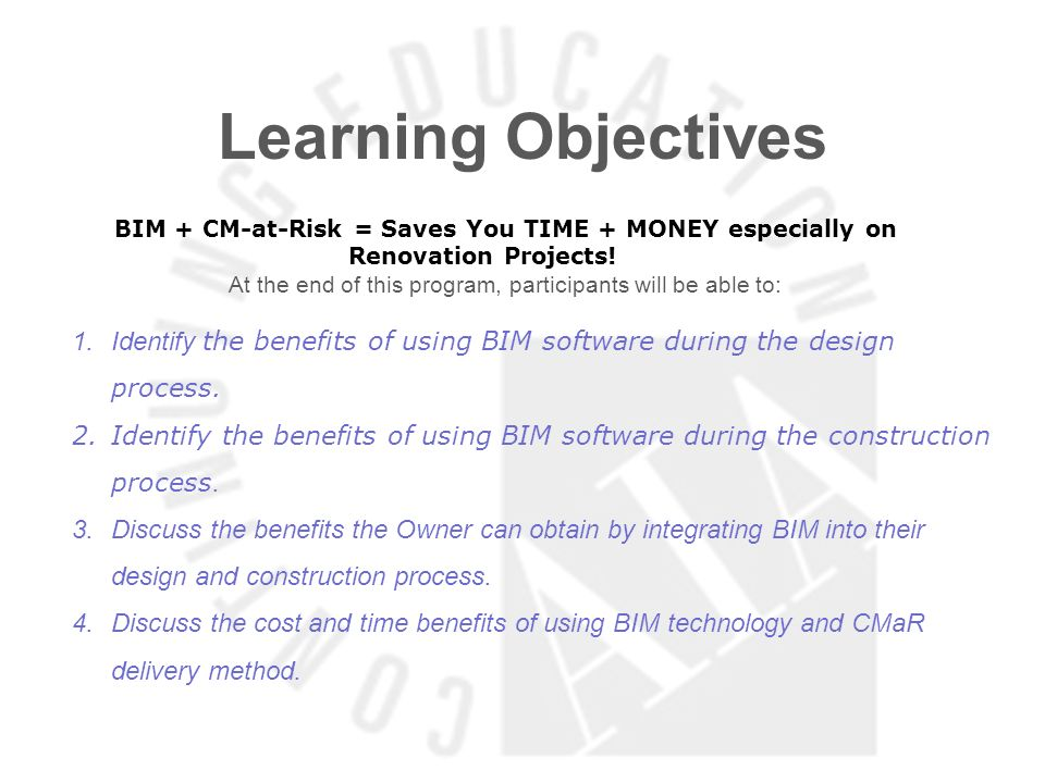 At the end of this program, participants will be able to: